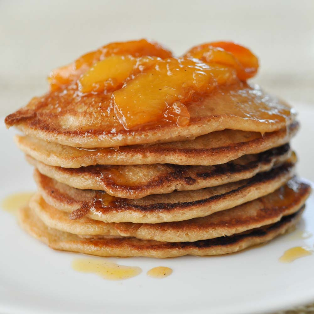 double coconut pancakes with vanilla peach sauce foods of our lives